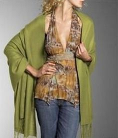 """This green #Pashmina #wrap #stole is serene and great for this time of year. This Pashmina wrap is a must have as it is soft, heavenly and protective at #YoursElegantly. Hence can be draped as a stole or used as a long #scarf.  Product No: 3796 Size: 28"""" x 76"""" Price: $19.99"""