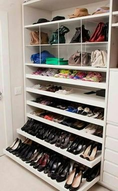 Is your closet overflowing? Here are closet storage ideas to help you gain more control over your closet space. Walking Closet, Shoe Storage Cabinet, Closet Storage, Shoe Shelves, Shoe Storage Wardrobe, Storage Cabinets, Shoe Cupboard, Purse Storage, Ikea Closet