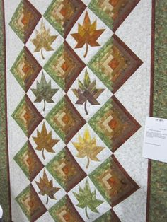 log cabin block and maple leaf