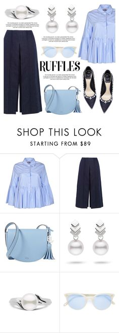 """""""Add Some Flair: Ruffled Tops"""" by pearlparadise ❤ liked on Polyvore featuring Stella Jean, Zeus+Dione, Lauren Ralph Lauren, Escalier, Garrett Leight, contestentry, pearljewelry, pearlparadise and ruffledtops"""