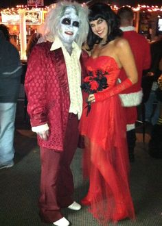 coolest homemade beetlejuice and miss argentina couple halloween costume time to party pinterest couple halloween beetlejuice and argentina