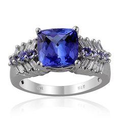 Tanzanite and Diamond Ring in 14k White Gold | Liquidation Channel