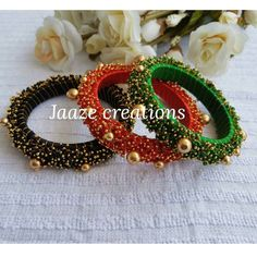 Silk Thread Bangles Design, Silk Thread Necklace, Silk Bangles, Beaded Necklace Patterns, Bridal Bangles, Thread Jewellery, Jewelry Wall, Jewelry Crafts, Bead Embroidery Jewelry