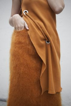 Faustine Steinmetz Handwoven Mohair Skirt in Orange | Oroboro Store | Brooklyn, New York