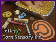 Letter C Corn Sensory Bin