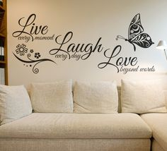 """Universe of goods - Buy """"Live Laugh Love Butterfly Flower Wall Art Sticker Modern Wall Decals Quotes Vinyls Stickers Wall Stickers Home Decor Living Room"""" for only USD. Wall Stickers Quotes, Wall Stickers Home Decor, Wall Art Quotes, Living Room Wall Stickers, Inspirational Wall Decals, Quote Wall, Love Wall Art, Metal Tree Wall Art, Modern Wall Decals"""
