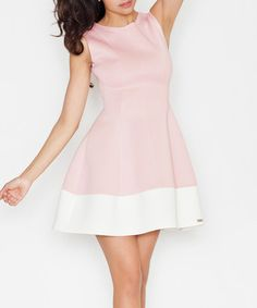 Look what I found on #zulily! Pink & White Fit & Flare Dress #zulilyfinds