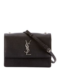 Get free shipping on Saint Laurent Monogram YSL Sunset Small Chain Pebbled Leather  Shoulder Bag at ccbb2fecdcd4f
