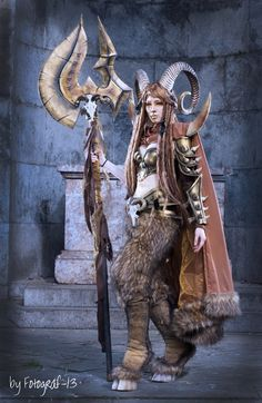 Warrior Faun Cosplay by emilyrosa female cosplay costume LARP armor clothes clothing fashion player character npc | Create your own roleplaying game material w/ RPG Bard: www.rpgbard.com | Writing inspiration for Dungeons and Dragons DND D&D Pathfinder PFRPG Warhammer 40k Star Wars Shadowrun Call of Cthulhu Lord of the Rings LoTR + d20 fantasy science fiction scifi horror design | Not Trusty Sword art: click artwork for source