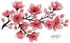 How to draw a cherry blossom flower tattoos cherry blossoms blossom Cherry Blossom Tattoo Meaning, Cherry Blossom Drawing, Cherry Blossom Flowers, Cherry Drawing, Illustration Blume, Illustration Botanique, Small Flower Tattoos, Small Tattoos, Tattoo Flowers