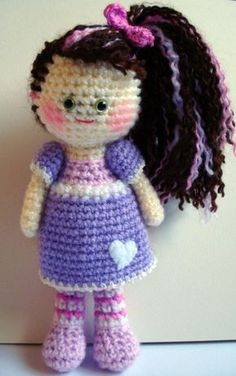 AllSoCute Amigurumis: Amigurumi Girl in Purple / Örgü Oyuncak Kız