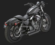 HARLEY SPORTSTER CUSTOM EXHAUSTS SHORT SHOT BLACK VANCE & HINES