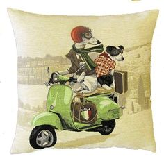 jacquard woven belgian tapestry cushion whippet and jack russell on green vespa…