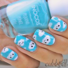 cubbiful: Nail Art Week: Fluffy Clouds with Inocos Céu