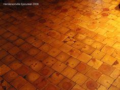 Wood tile floors, like the floor at Square Root (Brevard, NC)