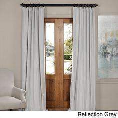 Exclusive Fabrics Signature Velvet Blackout Curtain Panel (Reflection Grey - 108L), Size 108 Inches