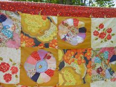1930's Hand Sewn Feedsack Dresden Plate Quilt  by WildForVintage, $117.50