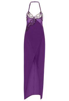b35a471b2 Amethyst silk nightdress with frastaglio embroidery -  CFIPLM0005830 TU VLL100 La Perla