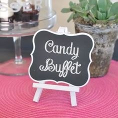 The Framed Chalkboard Table Easels are the perfect way to direct your guests to their seats, whether for a wedding or any special event. Chalkboard signs in a variety of sizes. Candy Buffet Tables, Candy Table, Dessert Table, Candy Buffet Signs, Chalkboard Table, Framed Chalkboard, Chalkboard Markers, Chalkboard Ideas, Table Easel