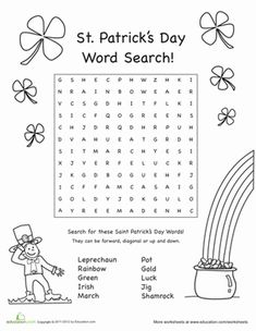 Free printable spring vocabulary word search for kids st patricks day second grade puzzles sudoku worksheets st patricks day word fandeluxe Choice Image