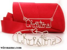 Personalized Name Bracelet in sterling silver wire  >>>    bracelet + hearts + necklace      http://www.wirename.com/wire-name-bracelet/index.php