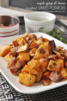 Maple Syrup Bacon Roasted Sweet Potatoes #paleo friendly