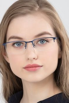 Black rectangle eyeglasses available in variety of colors to match any outfit. These stylish semi-rimless, large sized metal eyeglasses include free single-vision prescription lenses, a case and a cleaning cloth. Glasses For Round Faces, New Glasses, Glasses Online, Cheap Eyeglasses, Eyeglasses Frames For Women, Sunglasses Women, Stylish Glasses For Men, Womens Glasses, Women With Glasses