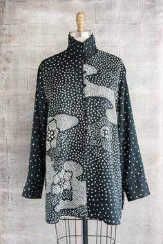 Long Shibori Blouse in Black and White Tie-Dye