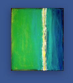 "Original Acrylilc Abstract Painting Fine Art on Gallery Canvas Titled: Electric Blue II 30x36x1.5"" by Ora Birenbaum. $345.00, via Etsy."