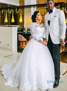 H1022 Modest long sleeved lace ball gown wedding dress