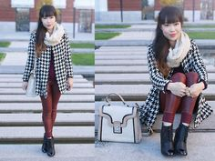 Houndstooth and Oxblood (by Toshiko S.) http://lookbook.nu/look/4408373-Houndstooth-and-Oxblood