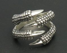 R000066 STERLING SILVER Ring Solid 925 Claws Raven Dragon Biker Gothic
