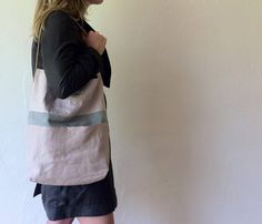 SHOULDER BAG tote purse pink linen and little grey by mandulis