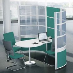 Meeting pod (includes screen and desk) Believe has strong, clean lines. It is ideal for creating cellular office layouts or pods within open plan environments. School Furniture, Office Furniture, Group Study, Open Plan, Feng Shui, Believe, Layout, Office Ideas, Storage