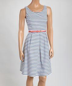 White & Black Stripe Belted Fit & Flare Dress