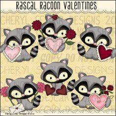 Rascal Racoon Valentines 1 - Clip Art by Cheryl Seslar