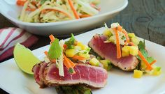 Seared Ahi Tuna with Miso Tahini Slaw by Becky Reams http://www.chefd.com/collections/all/products/seared-ahi-tuna-with-miso-tahini-slaw