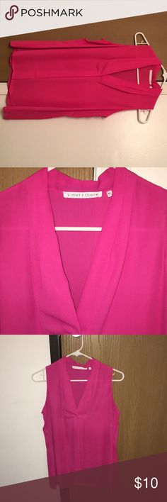 Hot pink flowy casual/dressy/night out shirt! **ONLY BEEN WORN ONCE!** it's a super cute hot pink flowy shirt. Perfect spring/summer color! I'll be honest, I don't really have the boobs for this shirt and with it being a bit low cut, I didn't really care for it anymore & I didn't want to feel insecure. 🙁 hopefully someone else would like this! :) Violet & Claire Tops Blouses