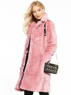 V By Very Faux Fur Coat - Pink