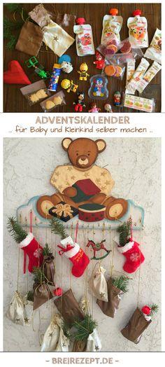 Adventskalender für Baby & Kleinkind selber machen. Ich zeige euch, was sich als Inhalt für einen DIY-Weihnachtskalender für euer Baby oder Kleinkind eignet: https://www.breirezept.de/artikel_adventskalender_baby_kleinkind.html