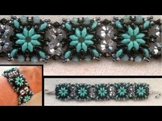 Beading4perfectionists : Superduo connected with Swarovski beaded bracelet beading tutorial - YouTube
