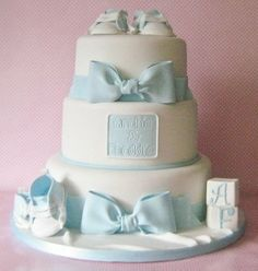 Christening cake for twin boys - by newsums @ CakesDecor.com - cake decorating website