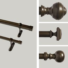 All in bronze-- adjustable curtain rod, square finials (end pieces)--for living room