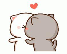 Cute Anime Cat, Cute Bunny Cartoon, Cute Kawaii Animals, Cute Couple Cartoon, Cute Cartoon Pictures, Cute Love Pictures, Cute Love Cartoons, Cute Cat Gif, Chibi Cat