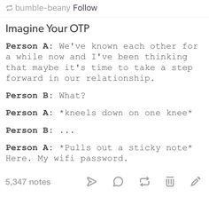 Person A aka Dean and Person B aka Castiel haha Daily Writing Prompts, Book Writing Tips, Creative Writing Prompts, Writing Help, Writing Ideas, Writing Inspiration, Otp Prompts, Dialogue Prompts, Story Prompts