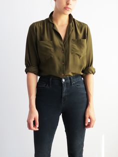 Silk Blouse - Olive // Vintage 90s Silk Top