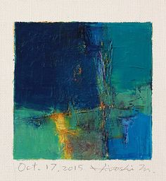 Oct. 17, 2015 - Original Abstract Oil Painting - 9x9 painting (9 x 9 cm - app. 4 x 4 inch) with 8 x 10 inch mat