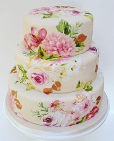 Another Exquisite Painted wedding cake by Nevie Pie Cakes