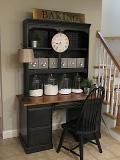 Sew Many Ways...: Baking Center From An Old Desk...placed a bookcase on top of a desk, paint them the same color
