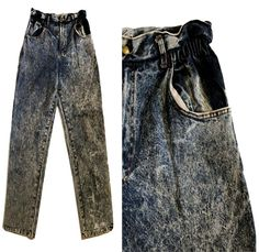 Gathered Waist Acid Stone Wash Denim Jeans Mom Boyfriend Worn Faded 43 L Denim Jeans, Mom Jeans, Boyfriend Style, Legs, Stone, Pants, Fashion, Trouser Pants, Moda
